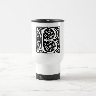 Elegant Medieval Renaissance Letter B Monogram 15 Oz Stainless Steel Travel Mug