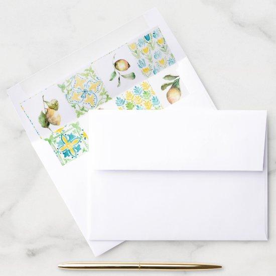 Elegant Mediterranean Citrus Envelope Liner