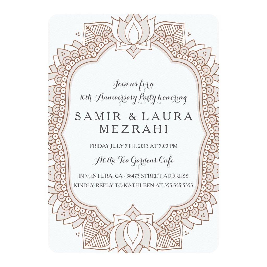 Elegant Mehndi Anniversary Party Invitation