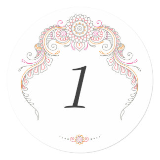 Elegant Mehndi Design table number-multi colored Card