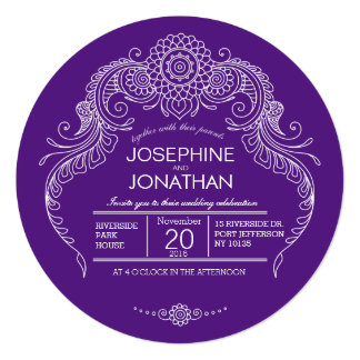 Elegant Mehndi Design wedding invitation-purple Card