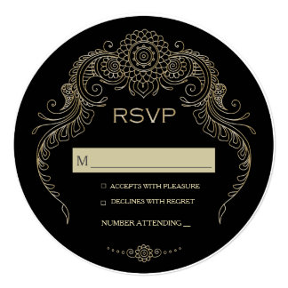 Elegant Mehndi Design wedding RSVP-black Card