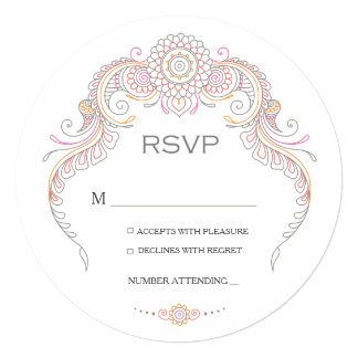 Elegant Mehndi Design wedding RSVP-multi colored Card