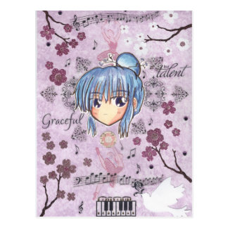 Elegant/Melancholy Ume-Chibi w/ collage background Postcard