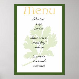 Elegant menu design poster