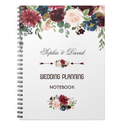 Elegant Merlot Navy Blue Floral Wedding Planner Notebook