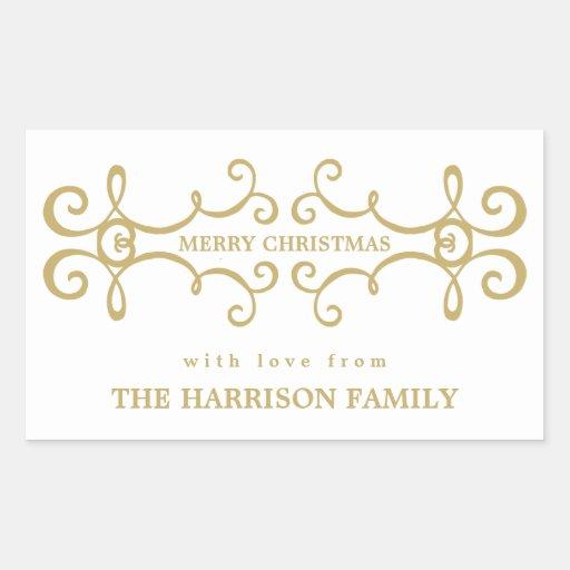 Elegant Merry Christmas Gift Tag / White Gold Rectangular Sticker