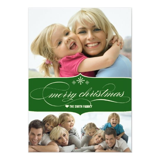 Elegant Merry Christmas Holiday Family Photo Card