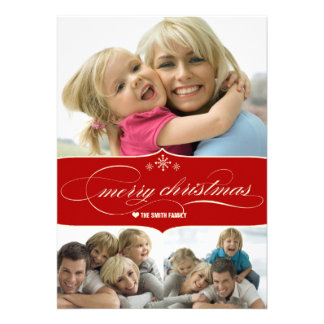 Elegant Merry Christmas Holiday Family Photo Card