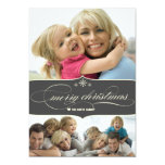 Elegant Merry Christmas Holiday Family Photo Card Custom Invite