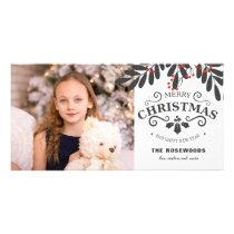 Elegant Merry Christmas New Year Photo Card