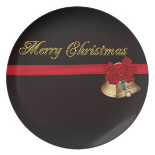 Elegant Merry Christmas Party Plate