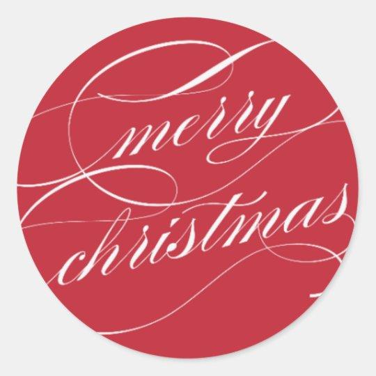 Elegant Merry Christmas | Red Classic Round Sticker