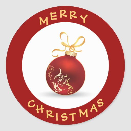 merry christmas round image elegant merry christmas gold bauble classic round sticker zazzle