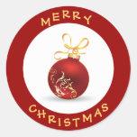 Elegant Merry Christmas Red & Gold Bauble Round Sticker