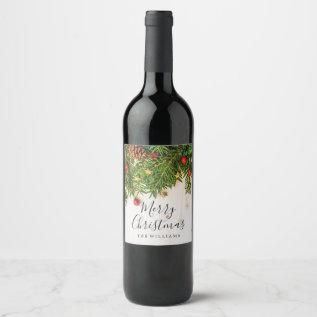 Elegant Merry Christmas Script Rustic Wood Wine Label at Zazzle