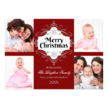 Elegant Merry Christmas Scroll Holiday Photo Card