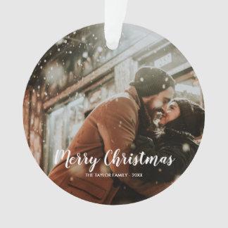 Elegant Merry Christmas Text | Rose Gold | Photo Ornament