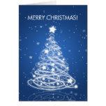 Elegant Merry Christmas Tree MOD Blue Card