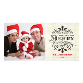 Elegant Merry Christmas Typography Photocards Card