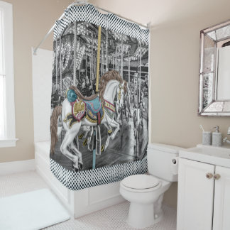 Elegant Merry Go Round Carousel Vintage Shower Curtain