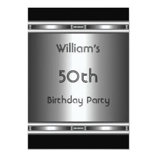 Elegant metal Look Silver Black 50th Birthday Mens Card