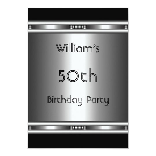 Elegant metal Look Silver Black 50th Birthday Mens Card
