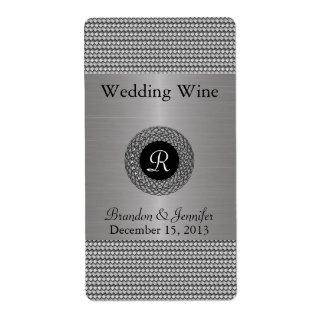 Elegant Metal Look Wedding Mini Wine Labels