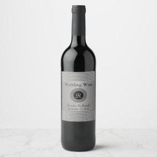 Elegant Metal Look Wedding Wine Label