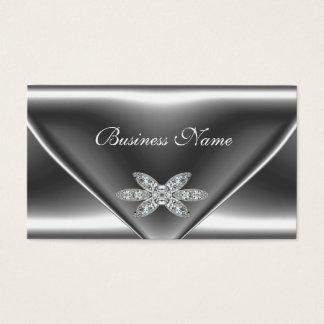 Elegant Metal Silver Diamond Jewel Business Card