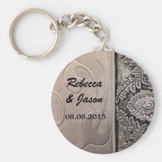 elegant metalic damask vintage wedding keychain
