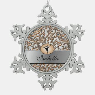 Elegant Metallic Ballet Snowflake Pewter Christmas Ornament