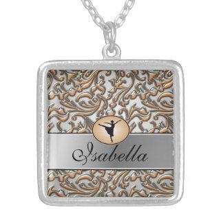 Elegant Metallic Ballet Square Pendant Necklace