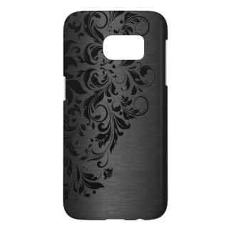 Elegant Metallic Black Texture Floral Black Lace Samsung Galaxy S7 Case