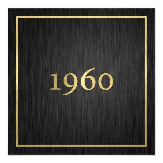 """Elegant Metallic Gold 1960 5.25"""" Square Invitation Card"""