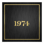Elegant Metallic Gold 1974 5.25x5.25 Square Paper Invitation Card