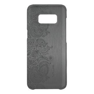 Elegant Metallic Gray & Black Paisley Lace Uncommon Samsung Galaxy S8 Case