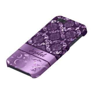 Elegant Metallic Purple & Lavender Damasks & Lace Cover For iPhone SE/5/5s