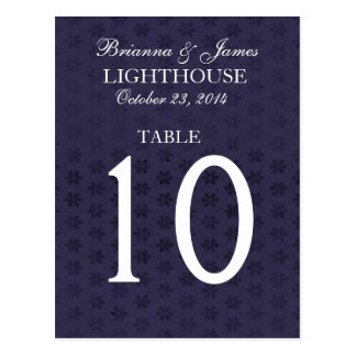 Elegant Midnight & White Wedding Table Number Card