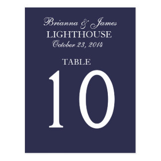 Elegant Midnight & White Wedding Table Number Card Postcard