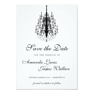 elegant mini chandelier save the date card