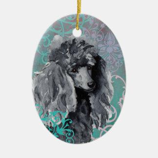 Elegant Miniature Poodle Ceramic Ornament