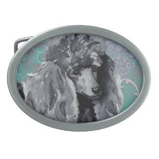 Elegant Miniature Poodle Oval Belt Buckle