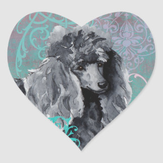 Elegant Miniature Poodle Heart Sticker