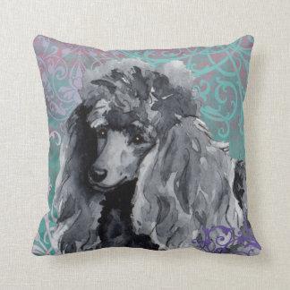 Elegant Miniature Poodle Throw Pillow