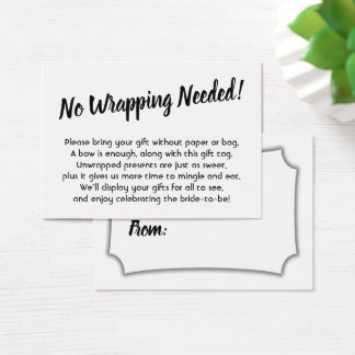 Elegant, Minimal Bridal No Wrap Shower Gift Card