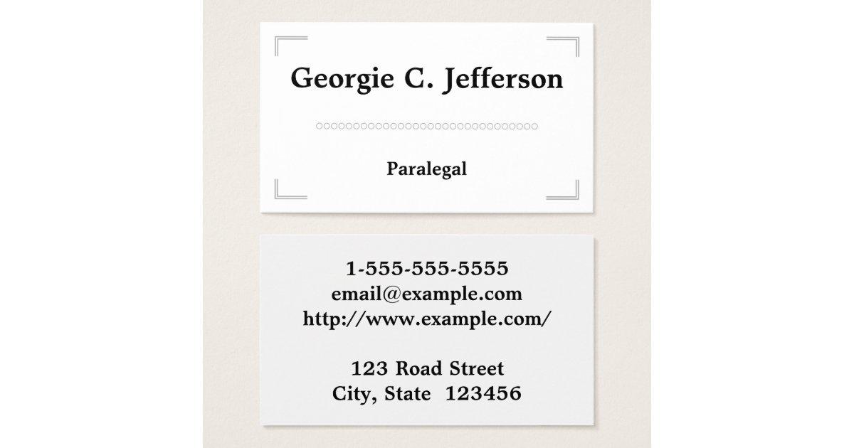 Elegant & Minimal Paralegal Business Card   Zazzle.com