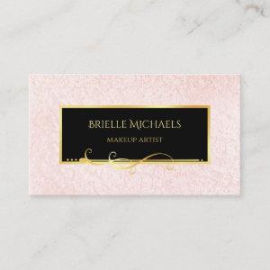 Elegant Minimal Pink and Black Makeup Artist Business Card