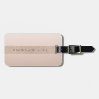ELEGANT MINIMAL ROSE GOLD SHIMMER PERSONALIZED LUGGAGE TAG