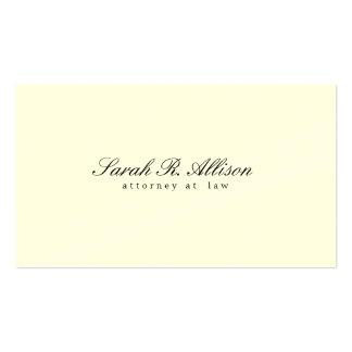 Elegant Minimalist Attorney Cream Colored Business Card Template